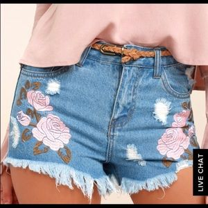 POSY PARADE EMBROIDERED DISTRESSED JEAN SHORTS